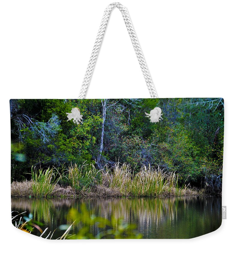Grass Weekender Tote Bag featuring the photograph Grass On The Water by Jon Cody