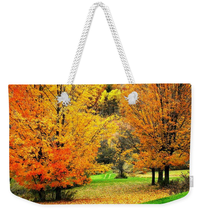 Trees Weekender Tote Bag featuring the photograph Grassy Autumn Road by Rodney Lee Williams