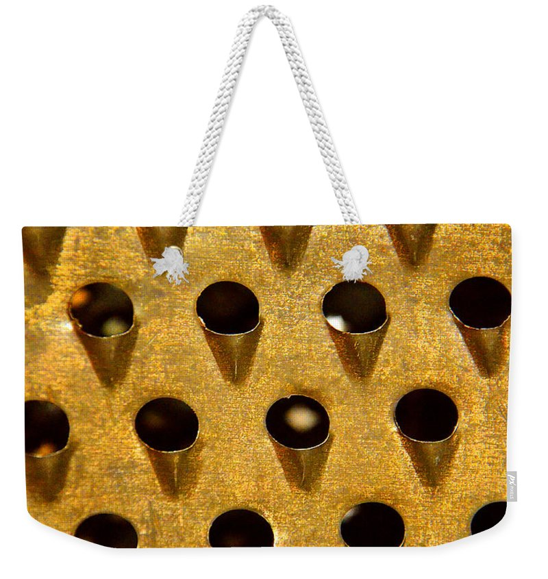 Abstract Weekender Tote Bag featuring the photograph Grating On My Nerves by Lauren Leigh Hunter Fine Art Photography