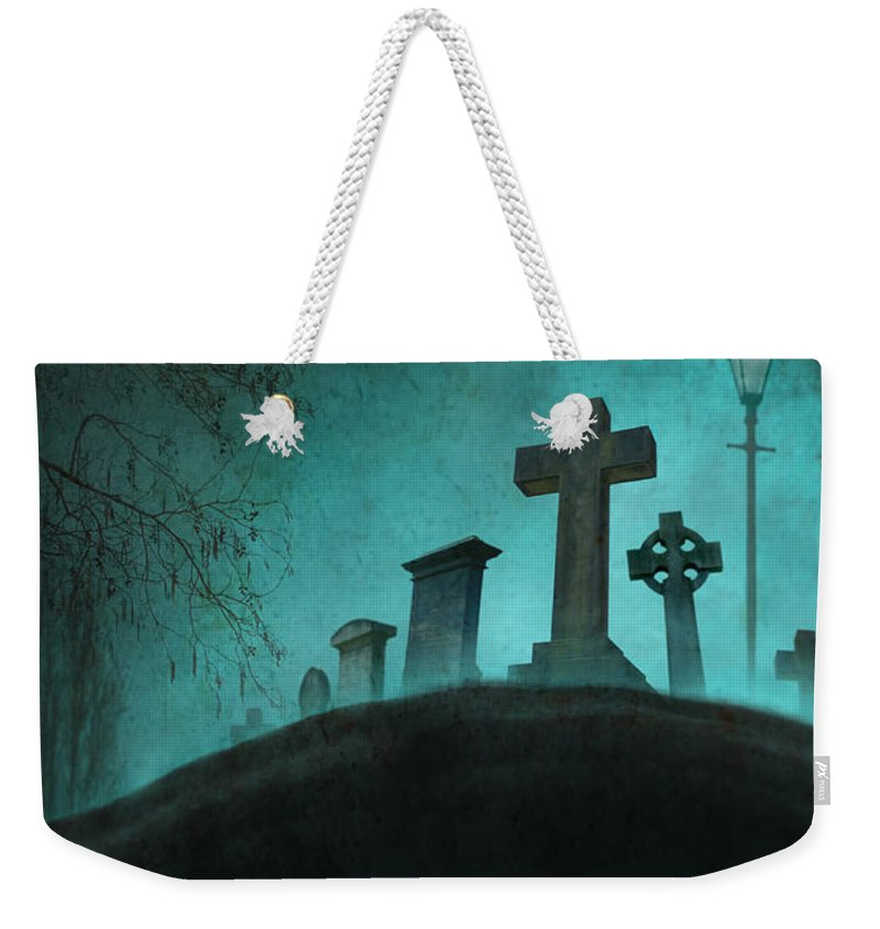 Grave Weekender Tote Bag featuring the photograph Graveyard At Night by Lee Avison