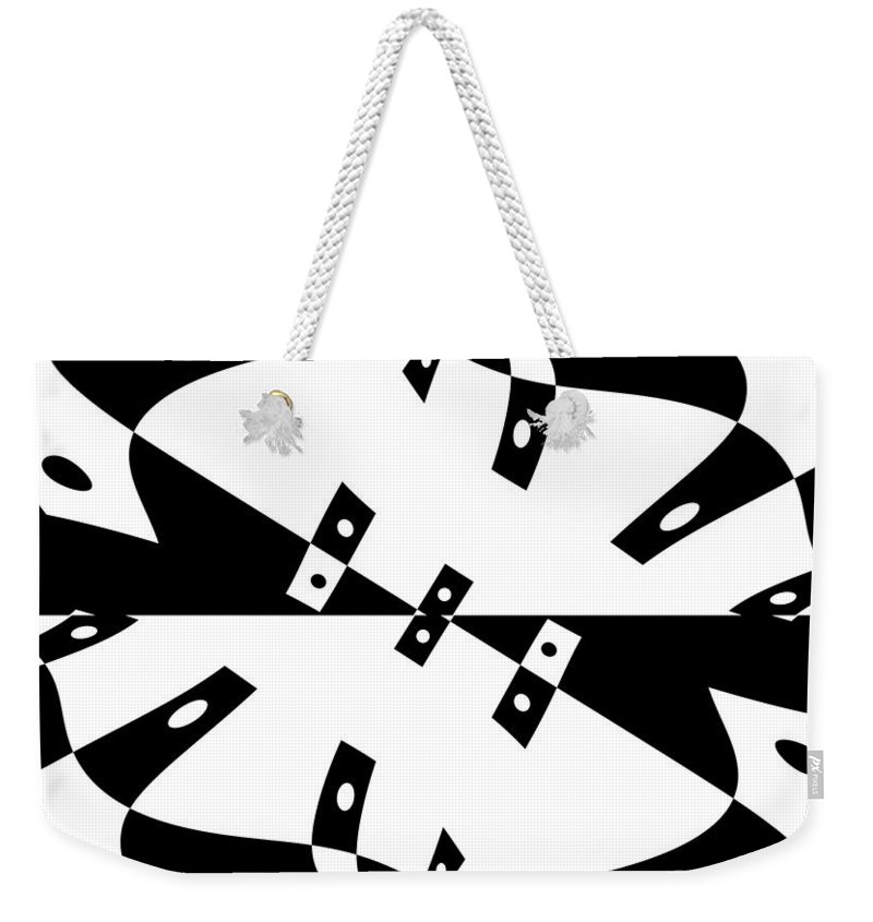 Black White Abstract Domino Gravity Space Expressionism Digital Art Zero Weekender Tote Bag featuring the digital art Gravity Zero by Steve K