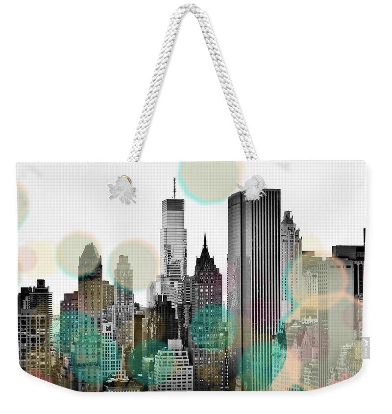 Gray Weekender Tote Bag featuring the digital art Gray City Beams by Susan Bryant
