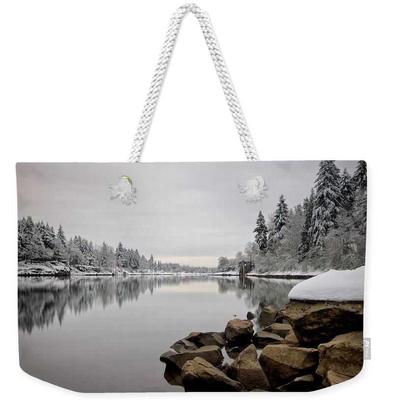 Lake Oswego Weekender Tote Bag featuring the photograph Gray Day In Lake Oswego by Ronda Kimbrow