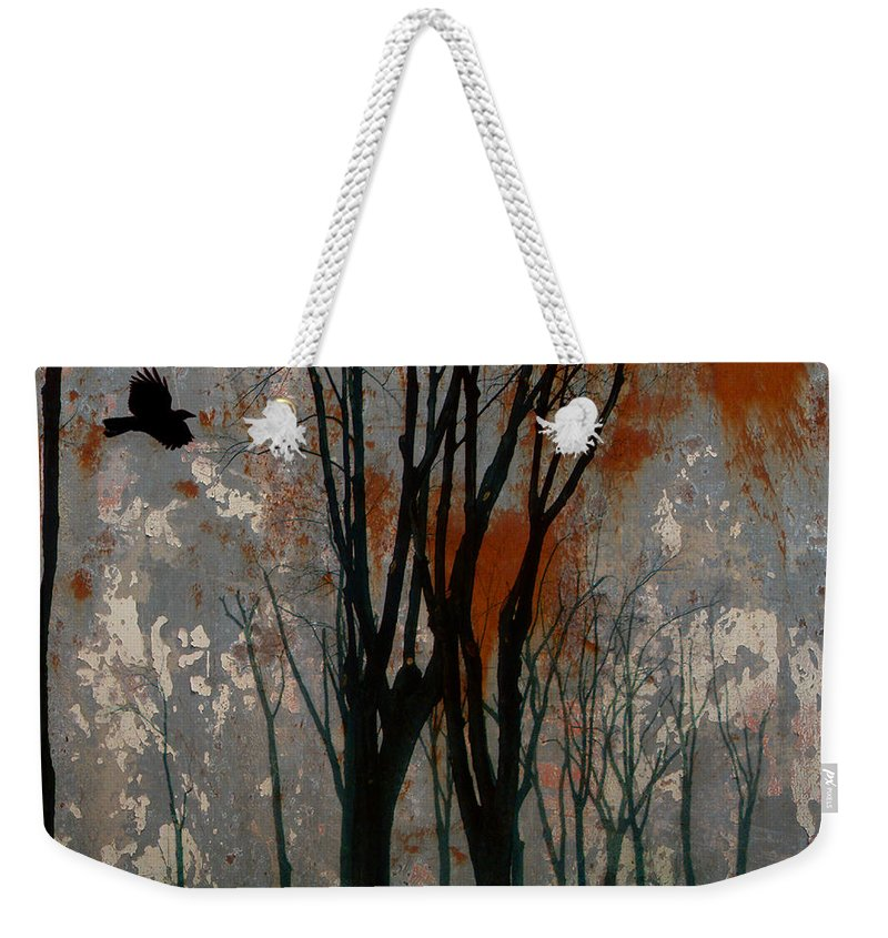 Crow Art Image Weekender Tote Bag featuring the digital art Gray Mirage by Gothicrow Images