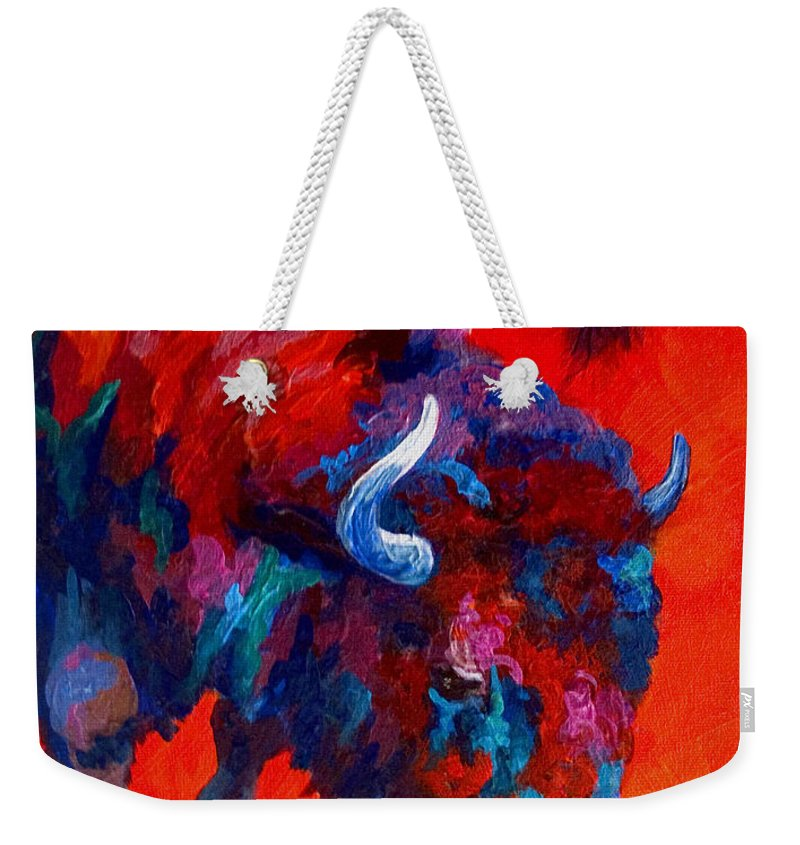 Bison Weekender Tote Bag featuring the painting Grazing Bison by Marion Rose