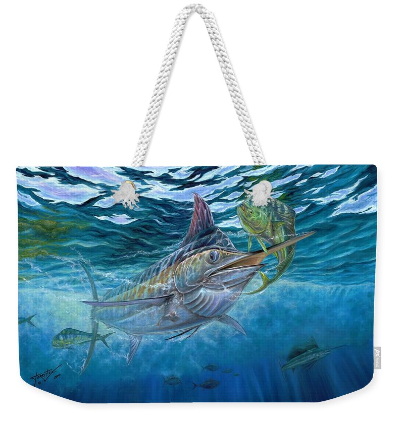 Blue Marlin Weekender Tote Bag featuring the painting Great Blue And Mahi Mahi Underwater by Terry Fox