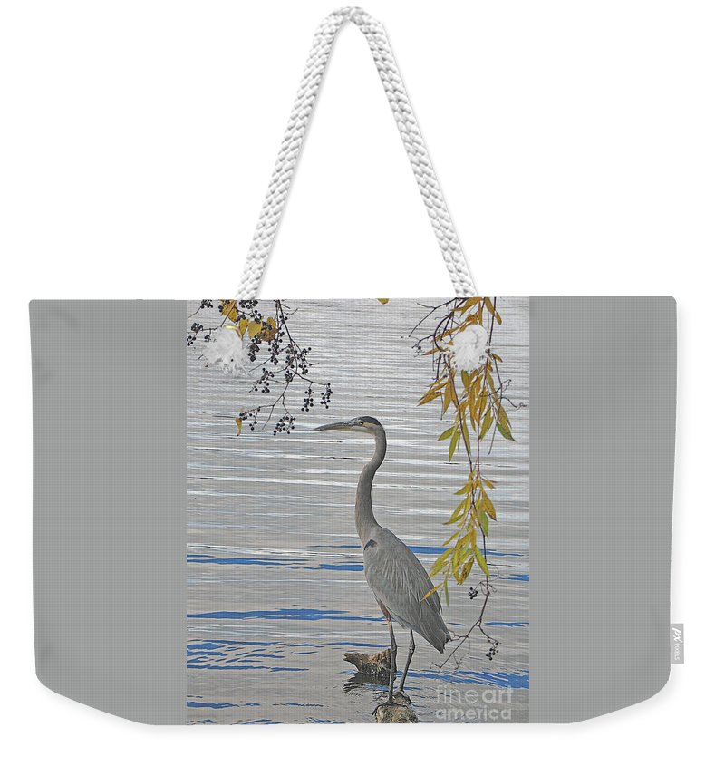 Heron Weekender Tote Bag featuring the photograph Great Blue Heron by Ann Horn