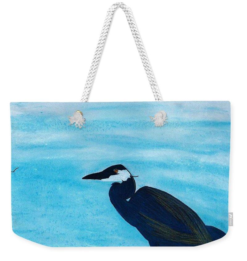 Heron Weekender Tote Bag featuring the drawing Great Blue Heron by D Hackett