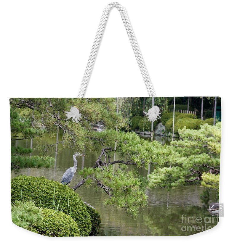 Blue Weekender Tote Bag featuring the photograph Great Blue Heron In Pond Kyoto Japan by Thomas Marchessault