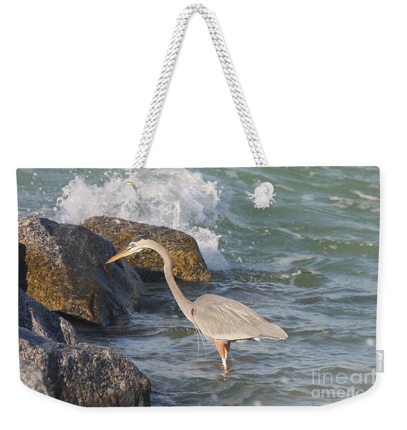 Heron Weekender Tote Bag featuring the photograph Great Blue Heron On The Prey by Christiane Schulze Art And Photography