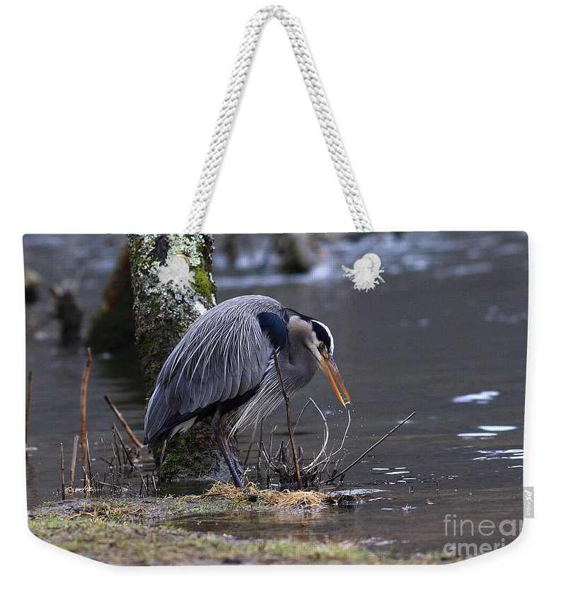 Weekender Tote Bag featuring the photograph Great Blue On The Clinch River II by Douglas Stucky
