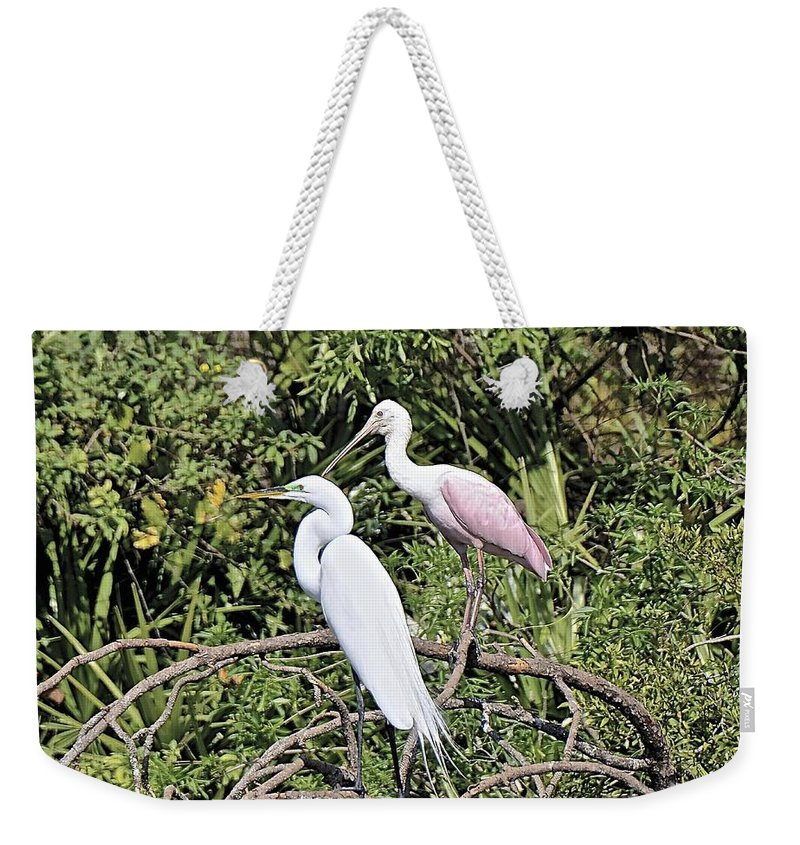Bird Weekender Tote Bag featuring the photograph Great Egret And Roseate Spoonbill by Carol Bradley