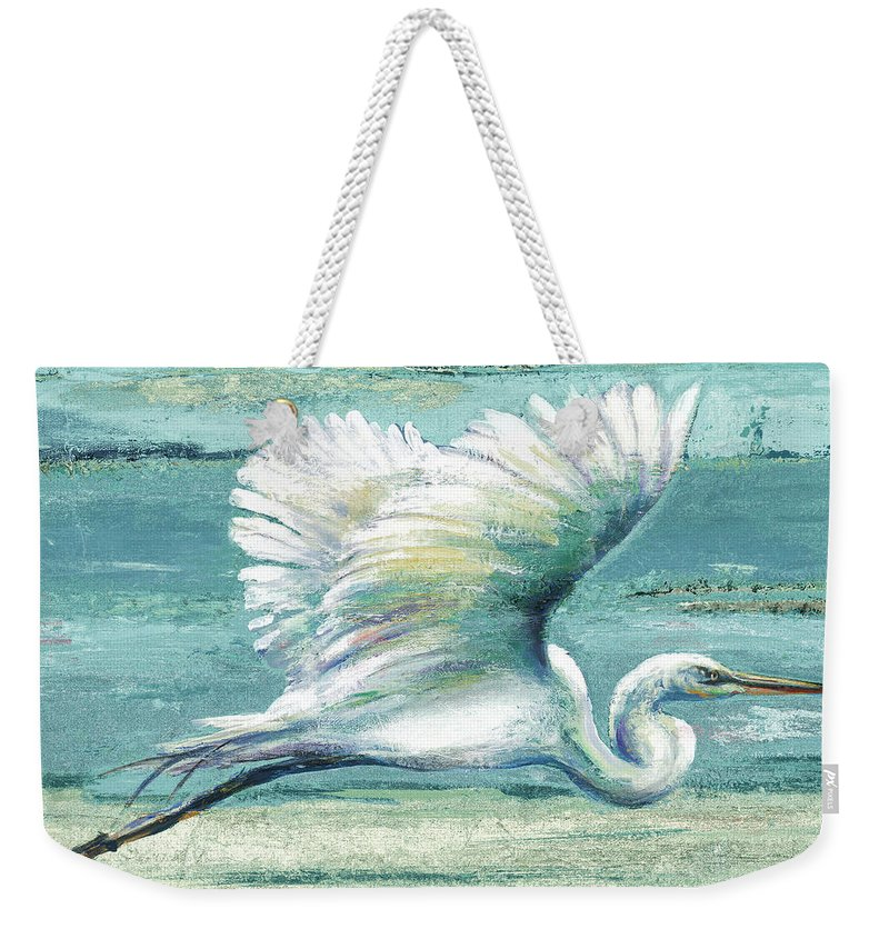 Coastal Weekender Tote Bag featuring the painting Great Egret I by Patricia Pinto