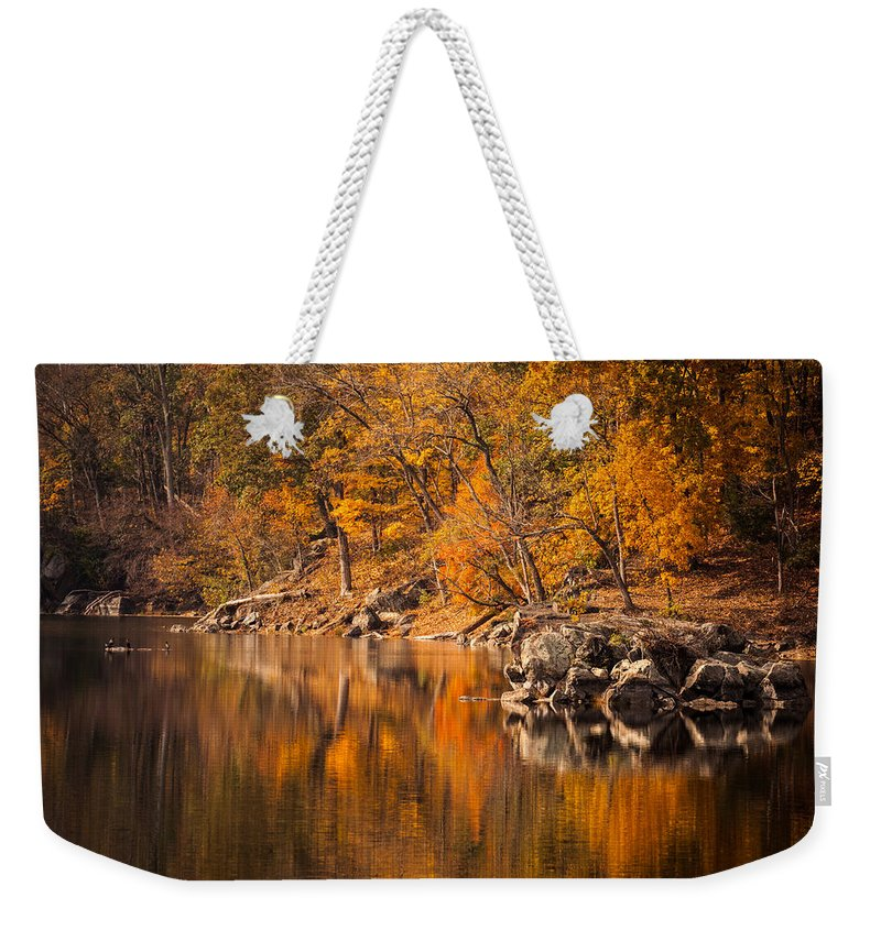 Autumn Weekender Tote Bag featuring the photograph Great Falls National Park by Leslie Banks
