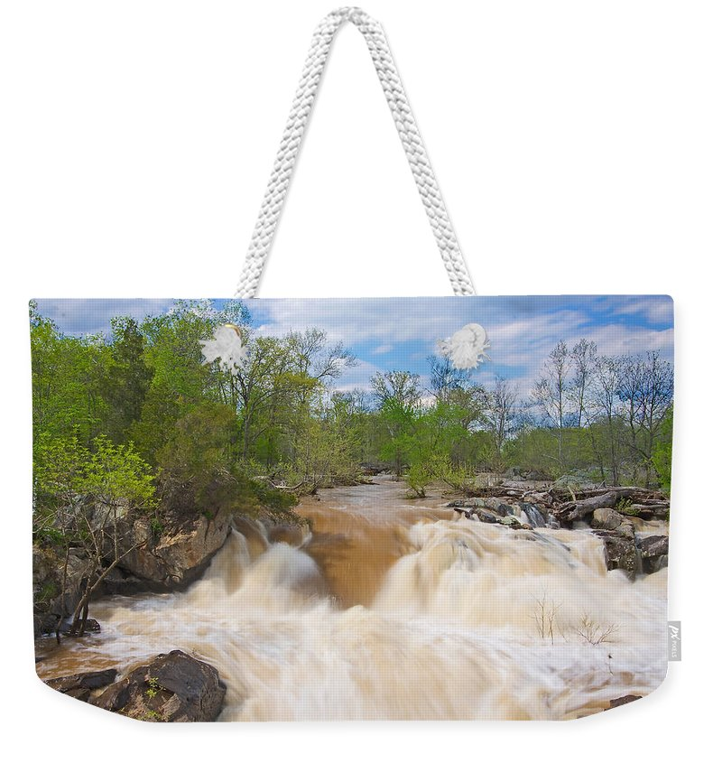 Great Falls Weekender Tote Bag featuring the photograph Great Falls White Water #5 by Stuart Litoff