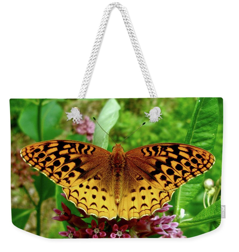 Butterfly Weekender Tote Bag featuring the photograph Great Spangled Fritillary Butterfly by Mother Nature