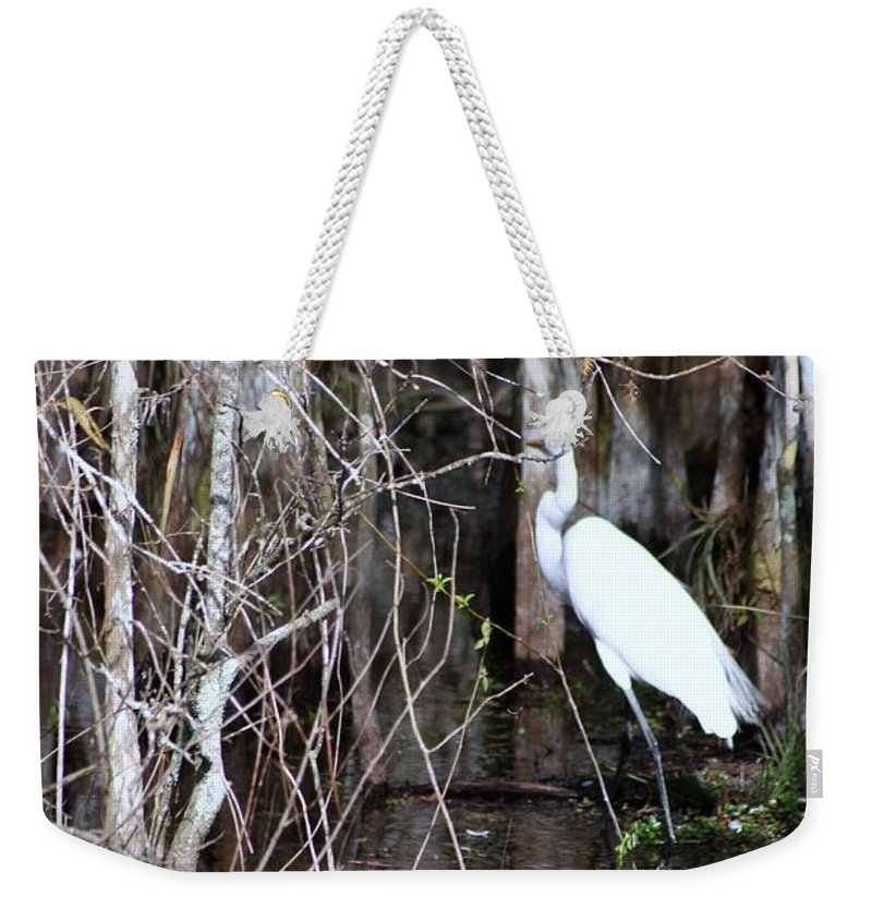 Egret Weekender Tote Bag featuring the photograph Great White Egret by Chuck Hicks