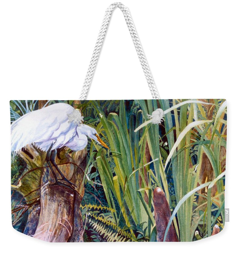 White Heron Weekender Tote Bag featuring the painting Great White Heron Sanctuary by Susan Duda