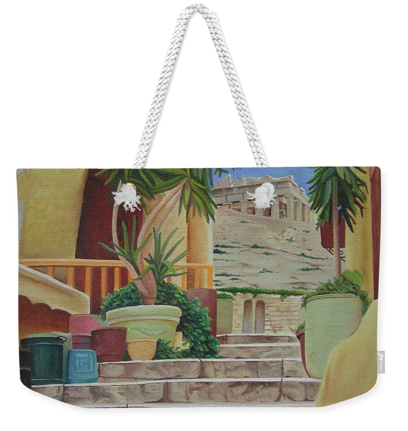 Greece Weekender Tote Bag featuring the painting Greece by Joshua Morton