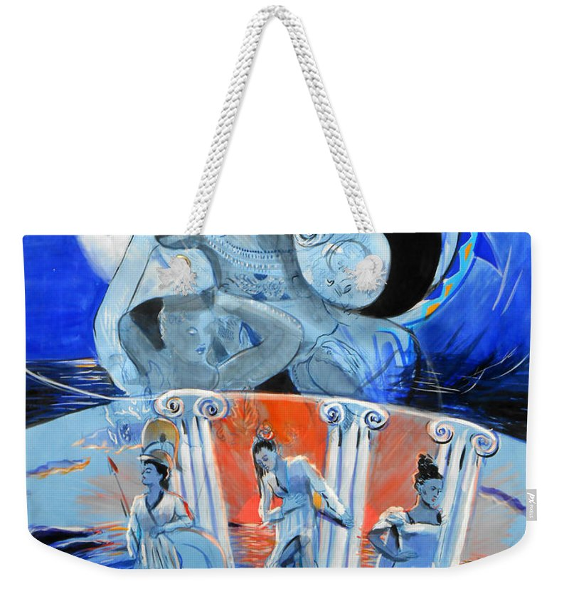 Fantasy Weekender Tote Bag featuring the painting Greek Goddesses by Lucia Hoogervorst