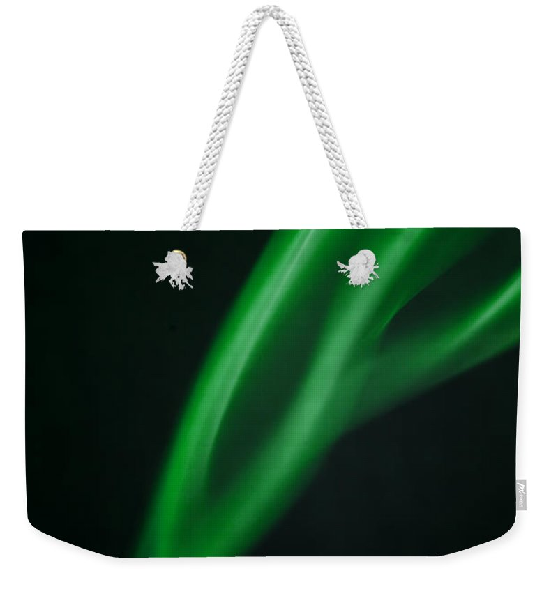 Smoke Abstract Weekender Tote Bag featuring the photograph Green Smoke Abstract by Michalakis Ppalis