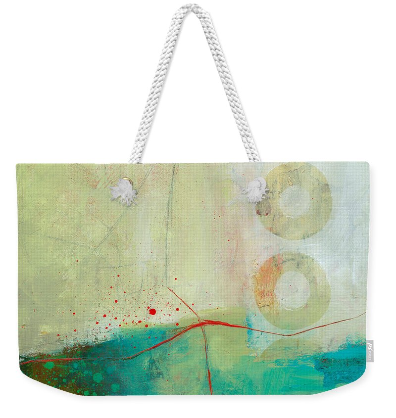 Acrylic Weekender Tote Bag featuring the painting Green And Red 2 by Jane Davies