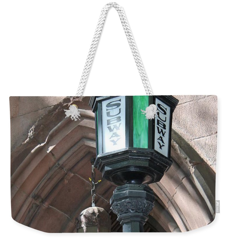 Subway Station Weekender Tote Bag featuring the photograph Green And White by Catie Canetti