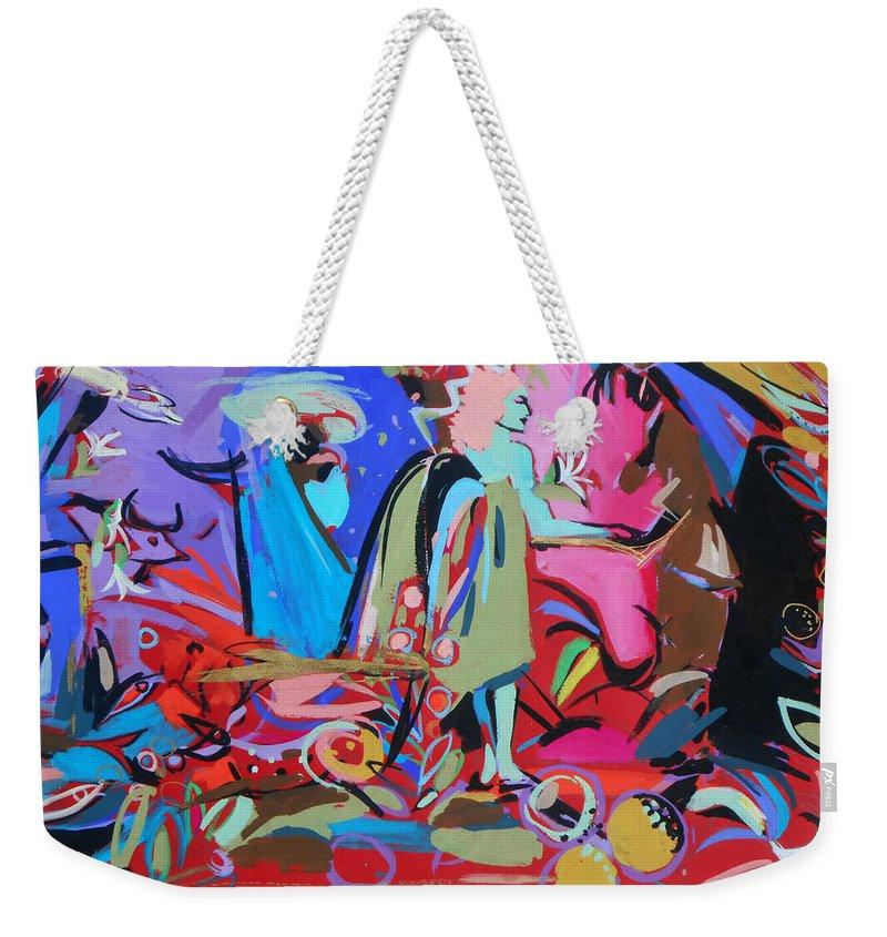 Angel Weekender Tote Bag featuring the painting Green Angel by Lucia Hoogervorst