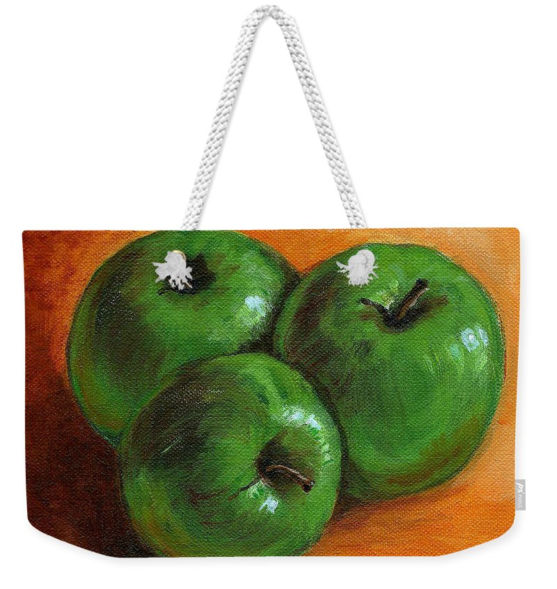 Apples Weekender Tote Bag featuring the painting Green Apples by Asha Sudhaker Shenoy