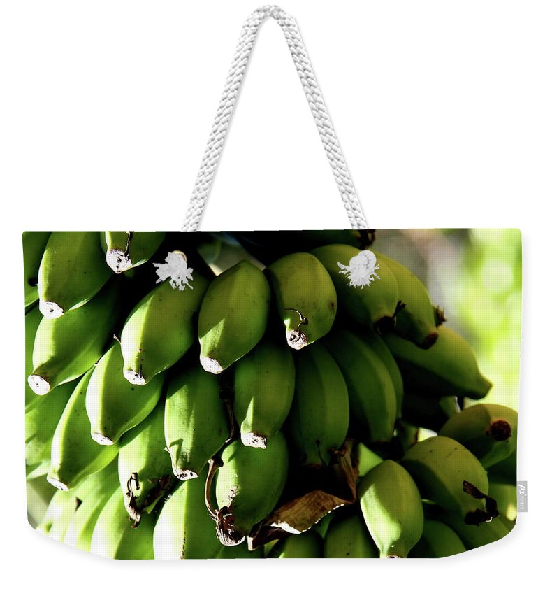 Bananas Weekender Tote Bag featuring the photograph Green Bananas by Christiane Schulze Art And Photography