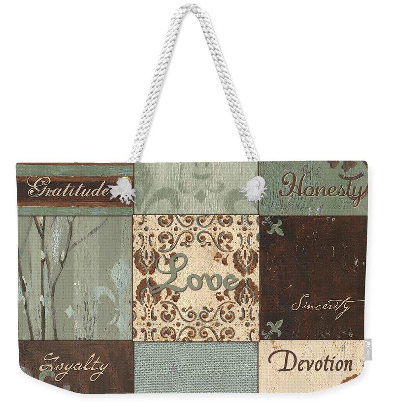 Inspirational Weekender Tote Bag featuring the painting Green Brown Wtlb 1 by Debbie DeWitt