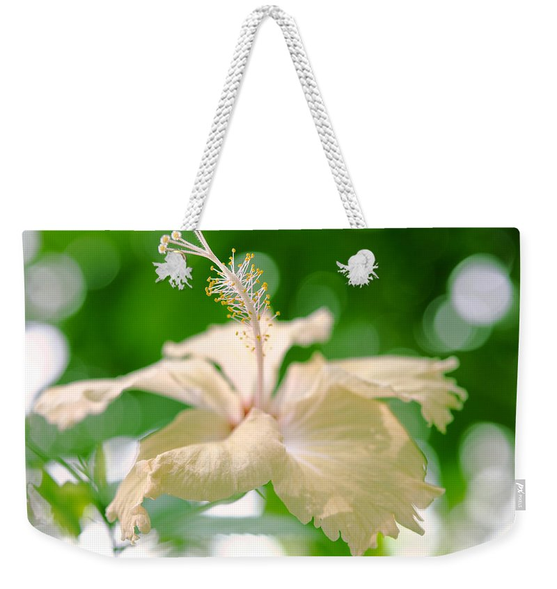 Hibiscus Weekender Tote Bag featuring the photograph Green Bubble Dream by Jenny Rainbow