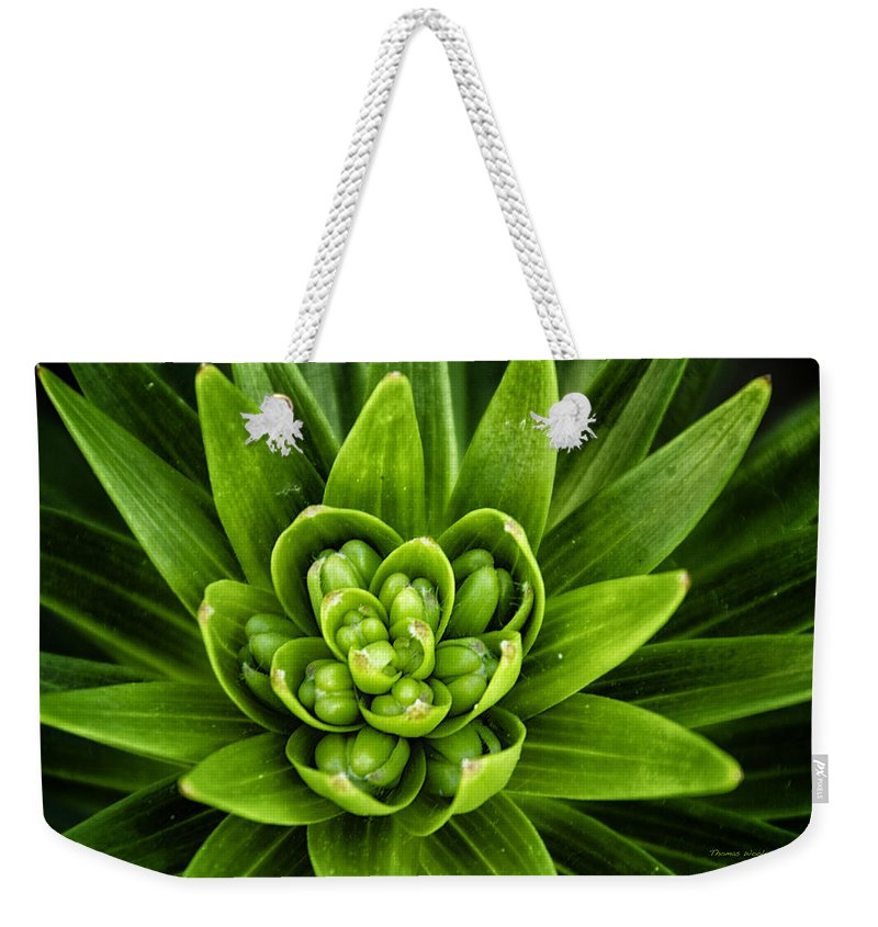 Green Weekender Tote Bag featuring the photograph Green Buds by Thomas Woolworth