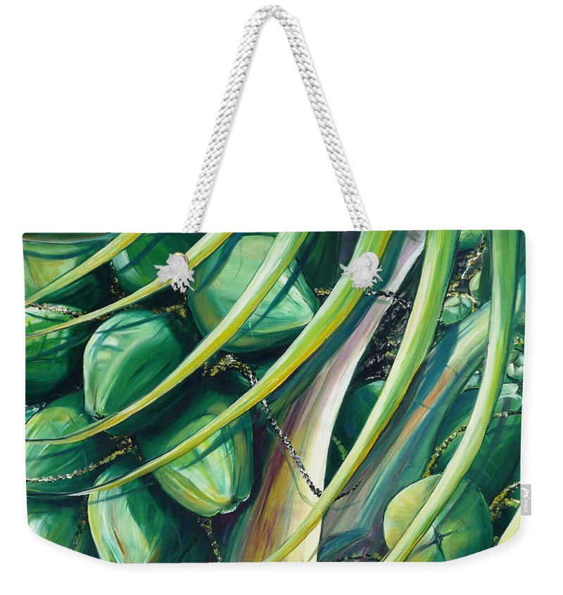 Coconut Painting Caribbean Painting Coconuts Caribbean Tropical Painting Palm Tree Painting  Green Botanical Painting Green Painting Weekender Tote Bag featuring the painting Green Coconuts 2 by Karin Dawn Kelshall- Best