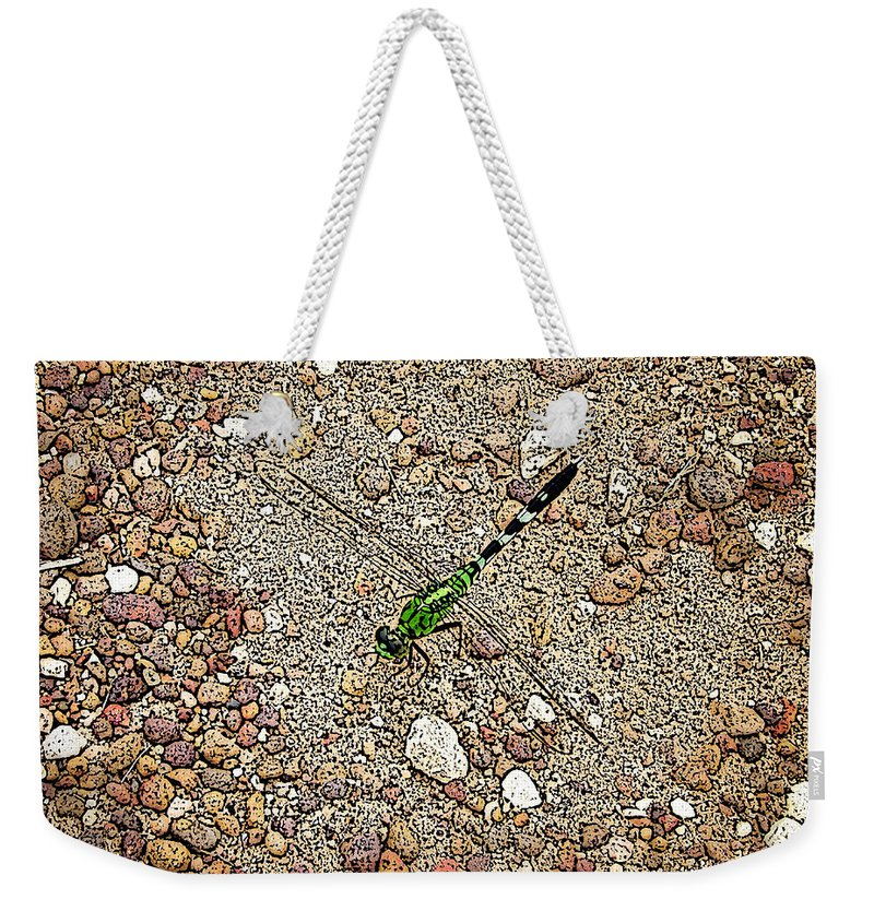 Green Dragonfly Photograph Canvas Print Weekender Tote Bag featuring the photograph Green Dragon by Lucy VanSwearingen