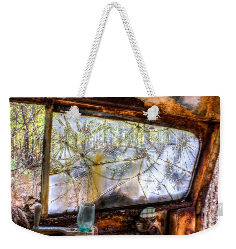 Window Weekender Tote Bag featuring the photograph Green Drinking Glass And Smoky Bronken Windshield by Douglas Barnett