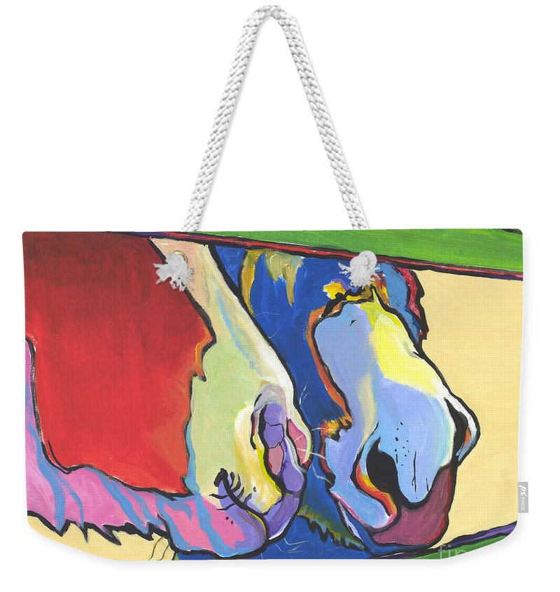 Pat Saunders-white Canvas Prints Weekender Tote Bag featuring the painting Green Fence by Pat Saunders-White