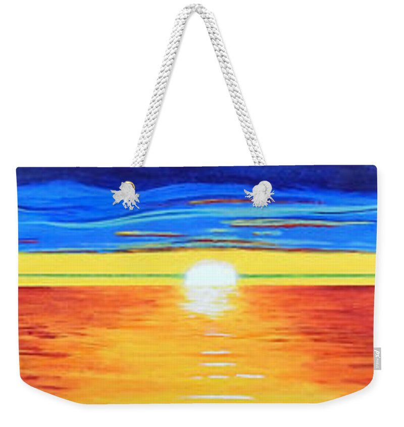 Abstract Impressionist Sunset Weekender Tote Bag featuring the painting Green Flash by Brenda Helt