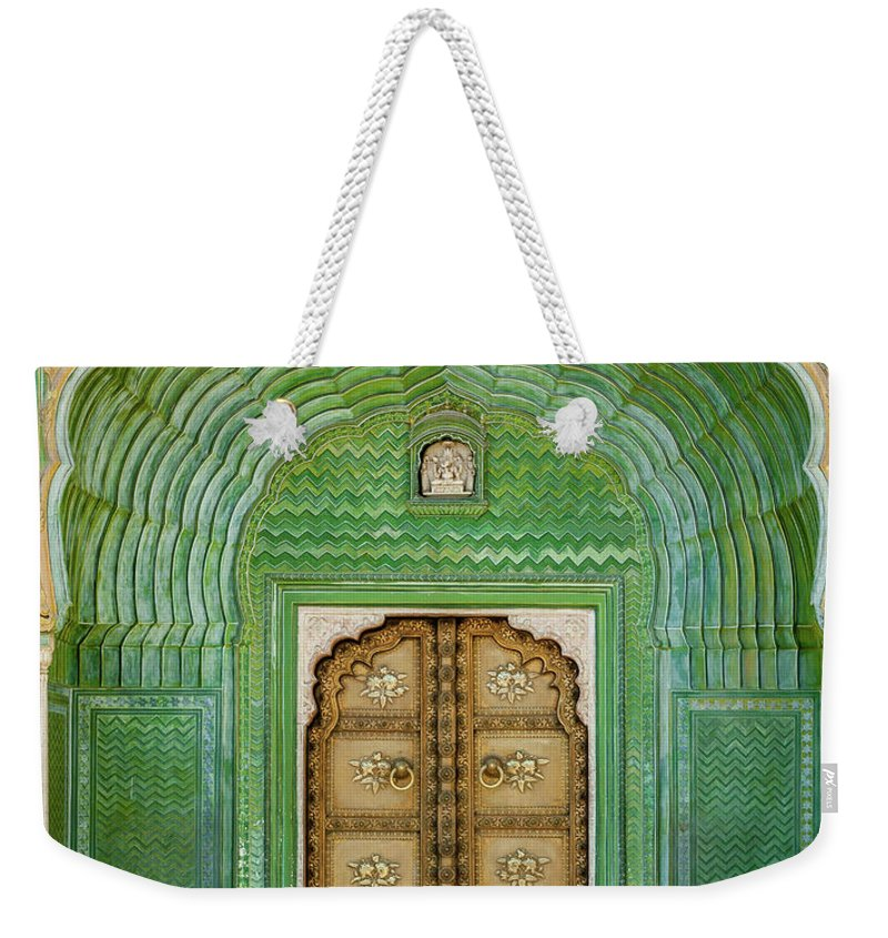 Arch Weekender Tote Bag featuring the photograph Green Gate In Pitam Niwas Chowk by Hakat
