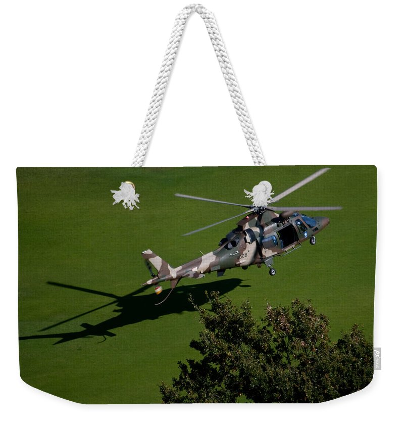 Agustawestland Aw109 Weekender Tote Bag featuring the photograph Green Grass Landing by Paul Job