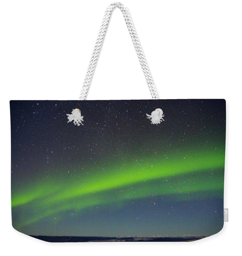 Alaska Aurora Borealis Weekender Tote Bag featuring the photograph Green Lady Dancing 15 by Phyllis Spoor