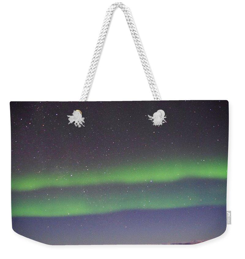 Alaska Aurora Borealis Weekender Tote Bag featuring the photograph Green Lady Dancing 9 by Phyllis Spoor