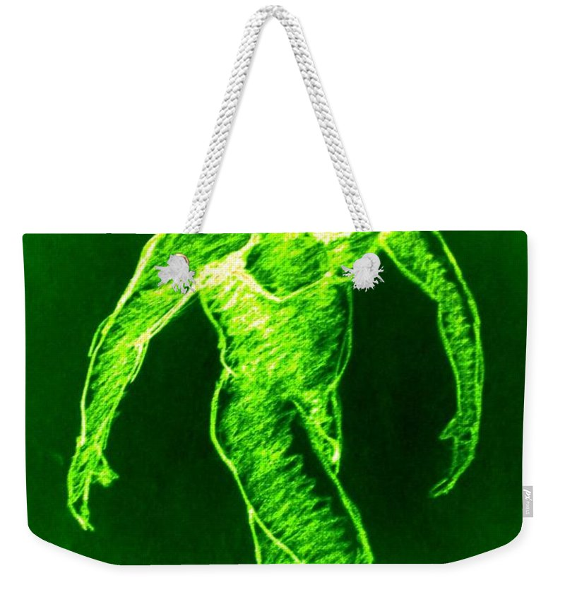Genio Weekender Tote Bag featuring the mixed media Green Man Arises by Genio GgXpress