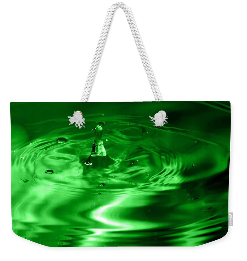 Abstract Weekender Tote Bag featuring the photograph Green Multi Colored Water Drop Bubbling by Alex Grichenko