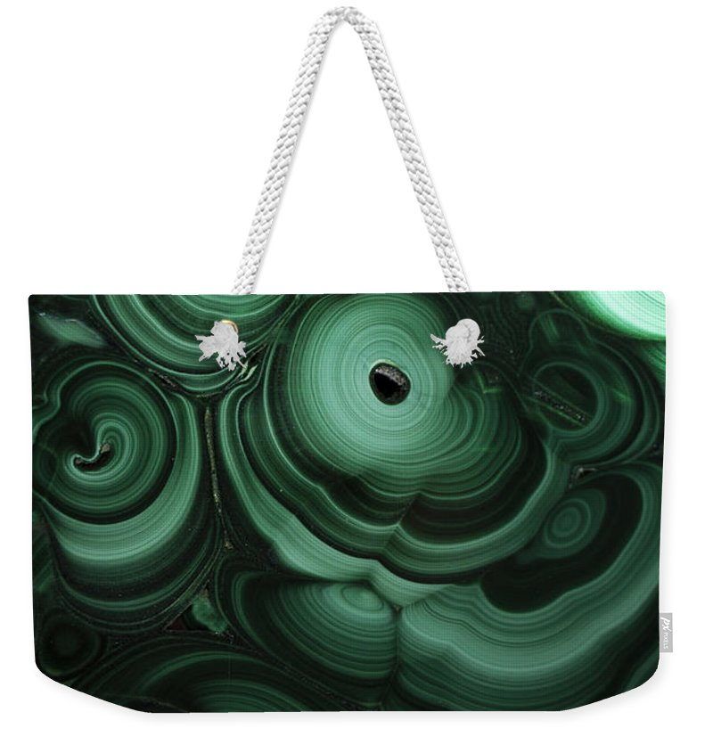 Green Weekender Tote Bag featuring the photograph Green Patterns Of Malachite by Jaroslaw Blaminsky