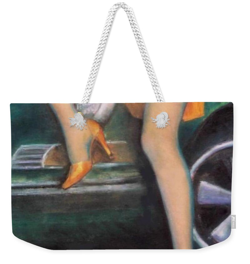 Sensual Weekender Tote Bag featuring the pastel Green Porsche by Mary Ann Leitch