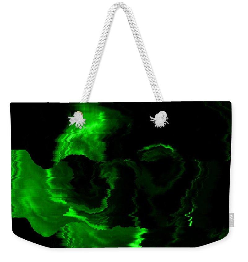Green Weekender Tote Bag featuring the digital art Green Skull by Mechala Matthews