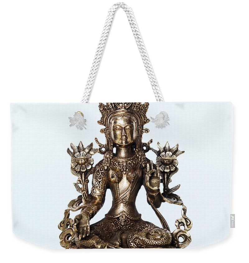 Tara Weekender Tote Bag featuring the photograph Green Tara Goddess Statue by Oleksiy Maksymenko