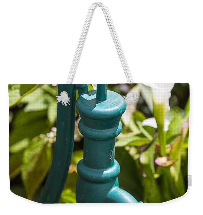 Green Weekender Tote Bag featuring the photograph Green Water Pump by Garry Gay