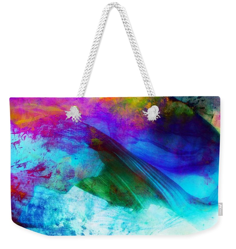 Abstract Weekender Tote Bag featuring the painting Green Wave - Vibrant Artwork by Lilia D